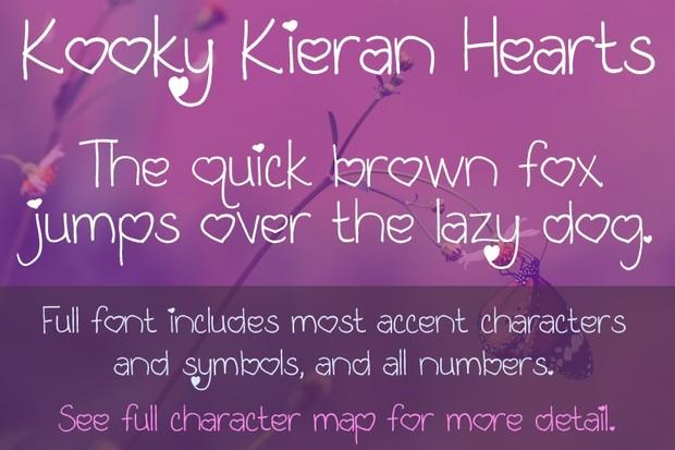 Kooky Kieran Hearts Font - General Commercial License