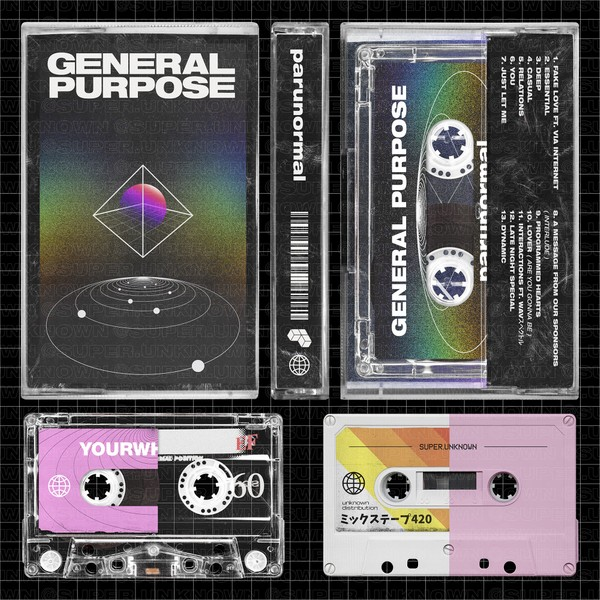 Complete Cassette Tape Mockups - all sides view + 2 tapes included (transparent and solid color)