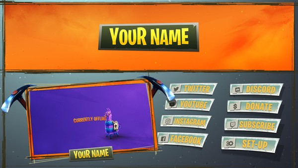 FREE Fortnite Theme Twitch and Social Layout Template!