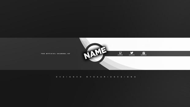 Clean 2D Gray YouTube Banner Template. - DaarIsDesigns
