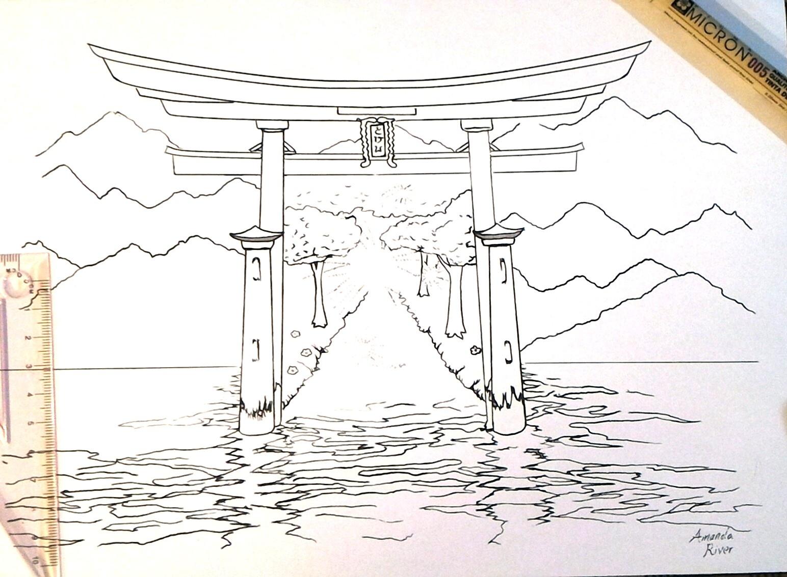 torii gate drawing - HD1544×1133
