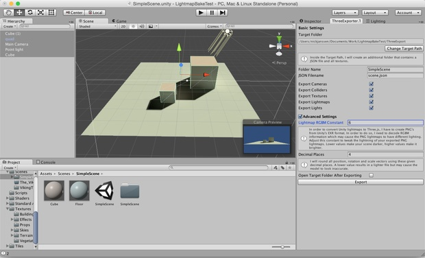 Unity to Three js JSON Exporter