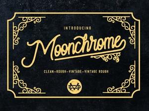 Moonchrome typeface + Bonus Vector