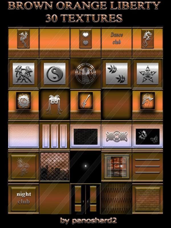 BROWN ORANGE LIBERTY 30 TEXTURES FOR IMVU ROOMS