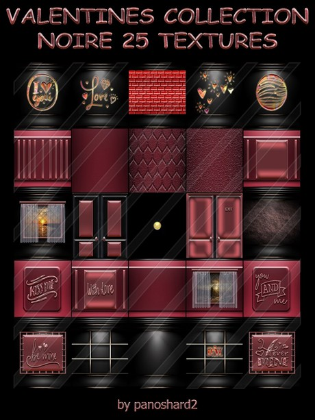 VALENTINES COLLECTION NOIRE 25 TEXTURES FOR IMVU ROOM CONSTRUCTION ( will be sold to ten creator)