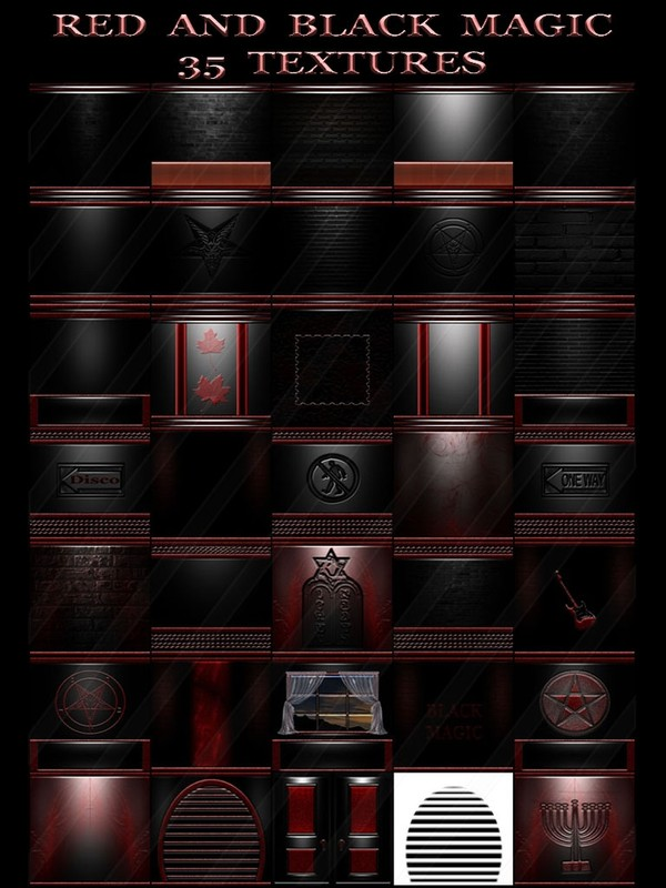 RED AND BLACK MAGIC  35 TEXTURES  FOR IMVU ROOMS
