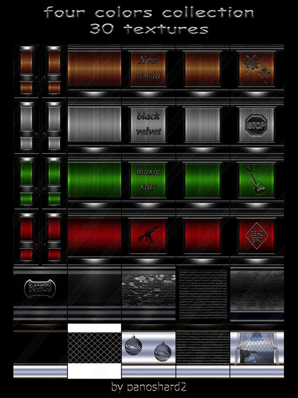 four colors collection 30 textures for imvu rooms