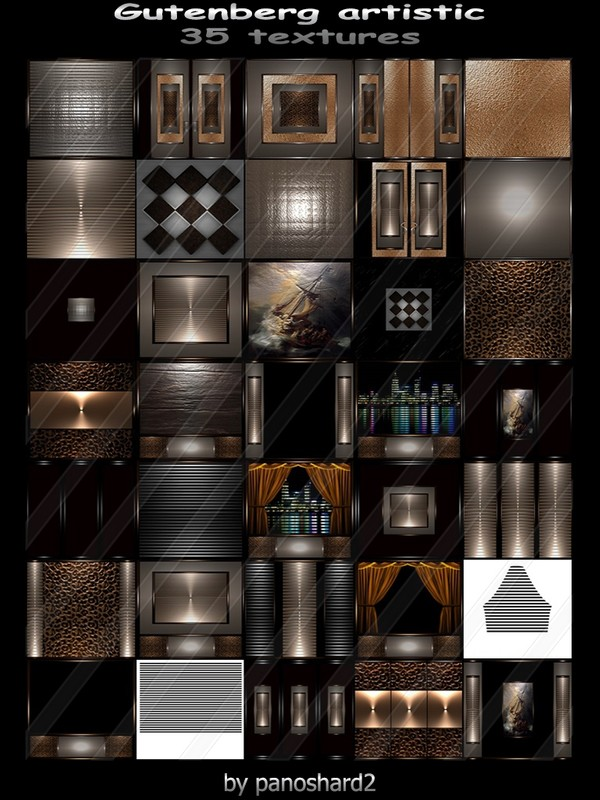 Gutenberg artistic 35 textures FOR IMVU CREATOR ROOMS