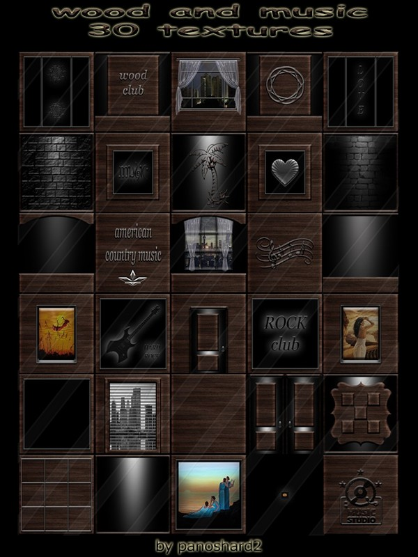 wood and music 30 textures for imvu creator rooms  (will be sold to ten creators)