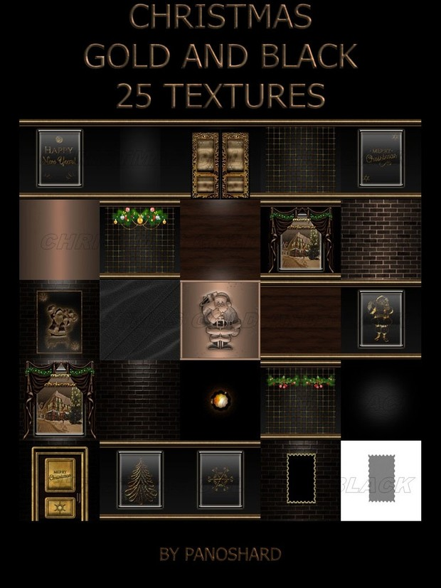 Christmas black and gold 25 textures