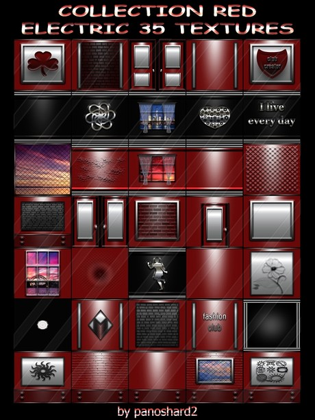 COLLECTION RED ELECTRIC 35 TEXTURES FOR IMVU CREATOR ROOMS (will be sold to ten creators)