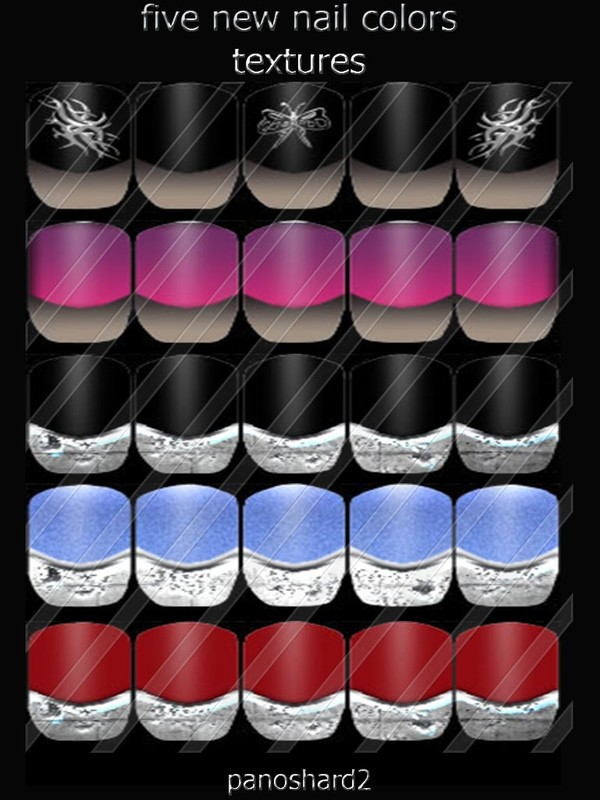 five new nails colors textures for imvu