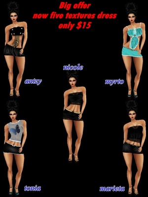 ☻☻☻  FIVE outfits female dress  textures  ☻☻☻
