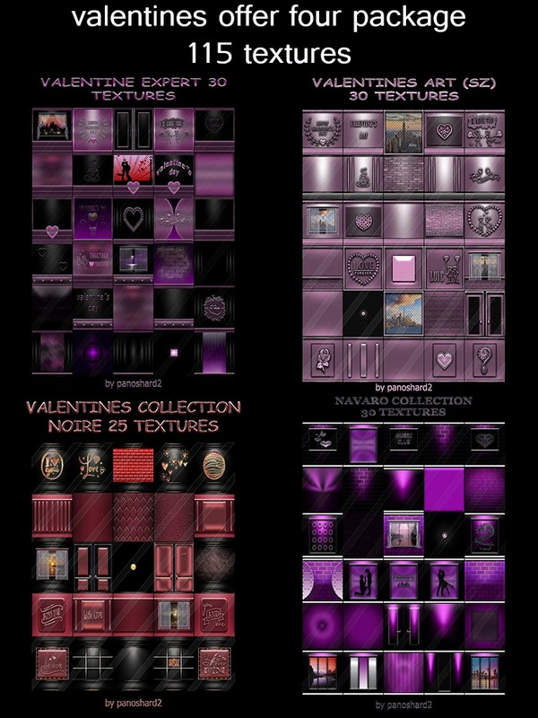 Valentines last day of offer four package  115 textures for the construction of rooms