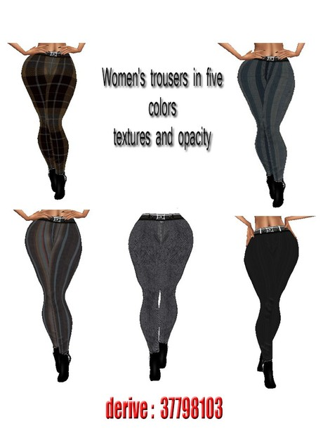 Women's trousers in five colors textures and opacity for imvu ( will be sold to five  creator)