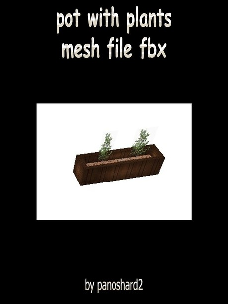 pot with plants mesh file fbx