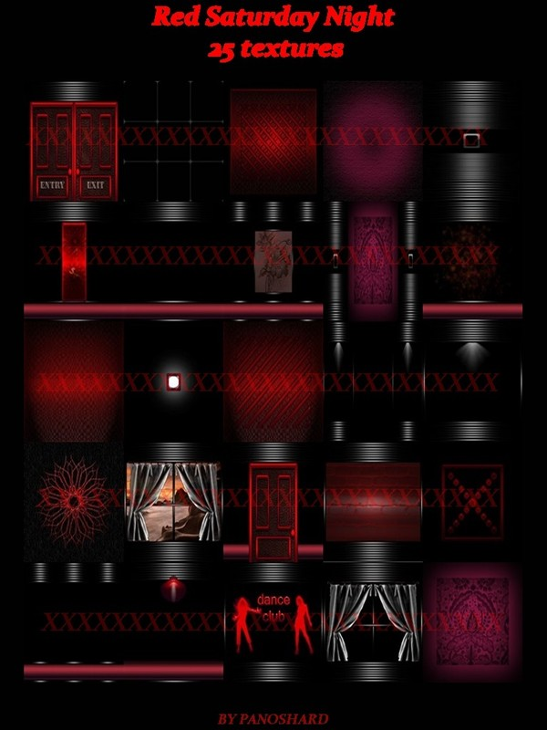 Red Saturday Night 25 textures for  imvu rooms