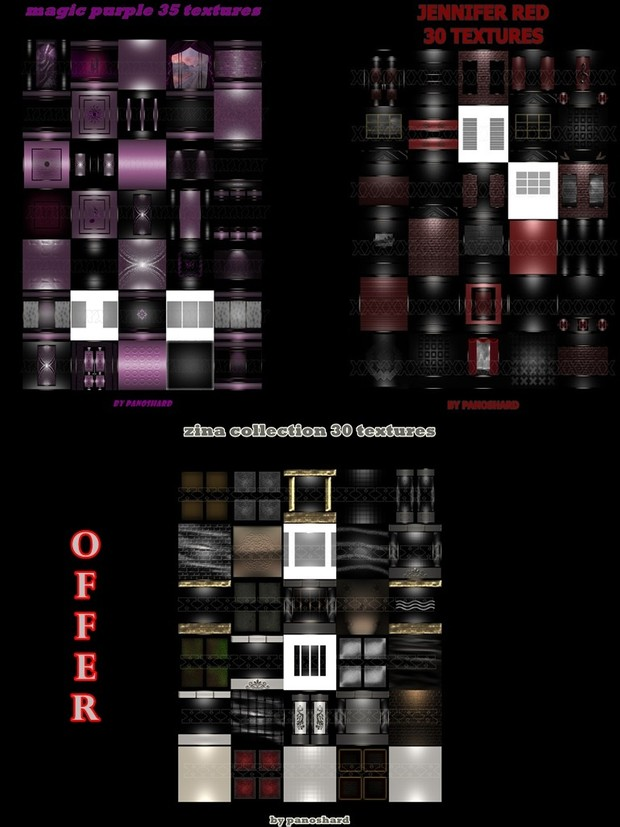 THREE  TEXTURES ROOM  PACK OFFER   ( ZINA COLLECTION - JENIFER RED - MAGIC PURPLE )