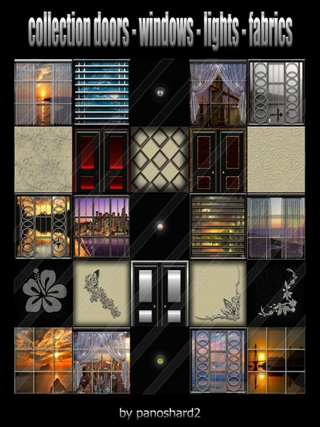 collection doors -windows - lights - fabrics 25 textures