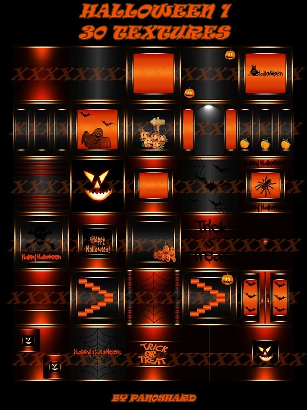 Super offer    four halloween packages 100 textures imvu room