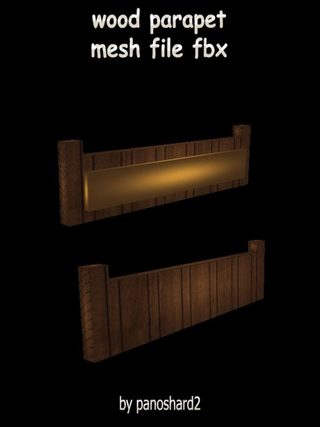 wood parapet mesh file fbx for imvu