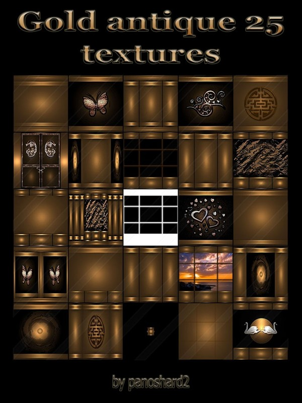 Gold antique 25 textures for imvu rooms
