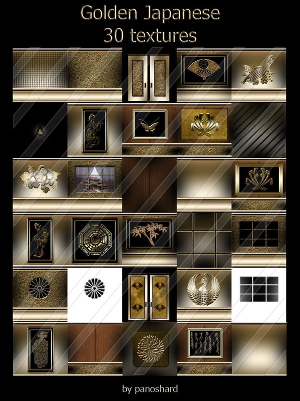Golden Japanese 30 textures for imvu  rooms