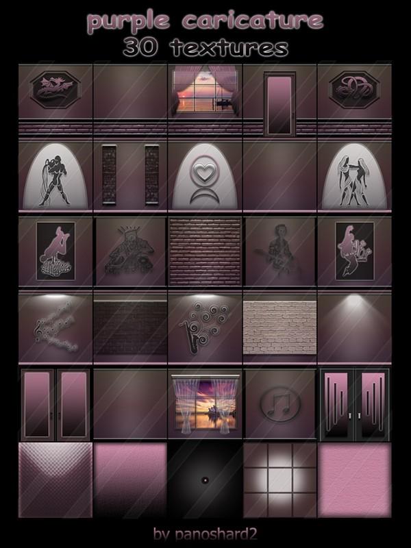 purple caricature 30 textures for imvu rooms