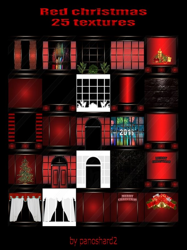Red christmas 25 textures  for imvu rooms