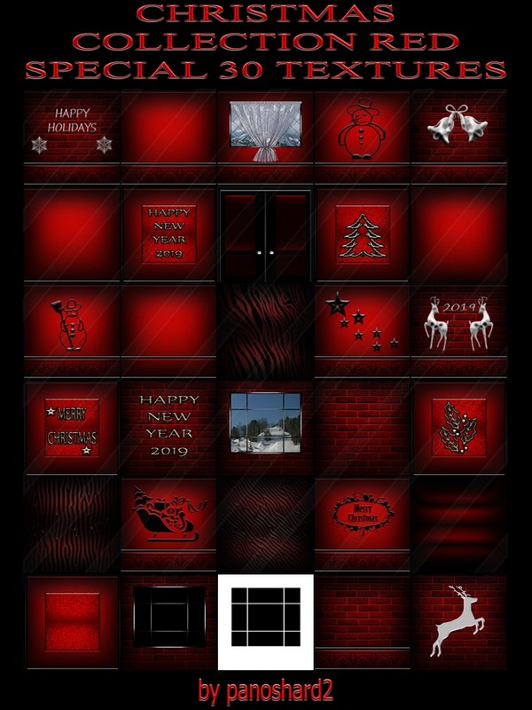 CHRISTMAS COLLECTION RED SPECIAL 30 TEXTURES FOR IMVU ROOMS