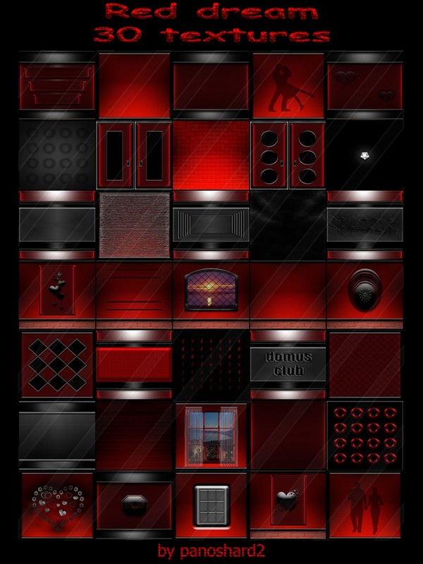 Red dream 30 textures for imvu rooms