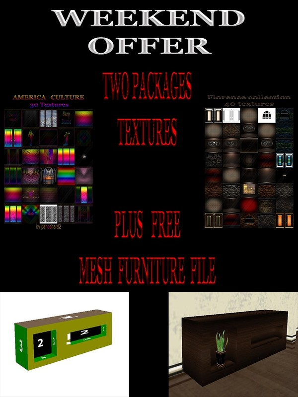 TWO  PACKAGES  TEXTURES   PLUS   FREE  MESH  FURNITURE  FILE fbx