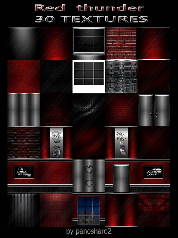 Red thunder 30 textures for imvu rooms