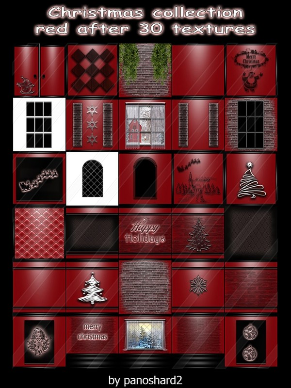 Christmas collection red after 30 textures for imvu creator rooms ( will be sold to ten creator)