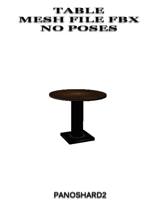 TABLE MESH FILE FBX NO POSES