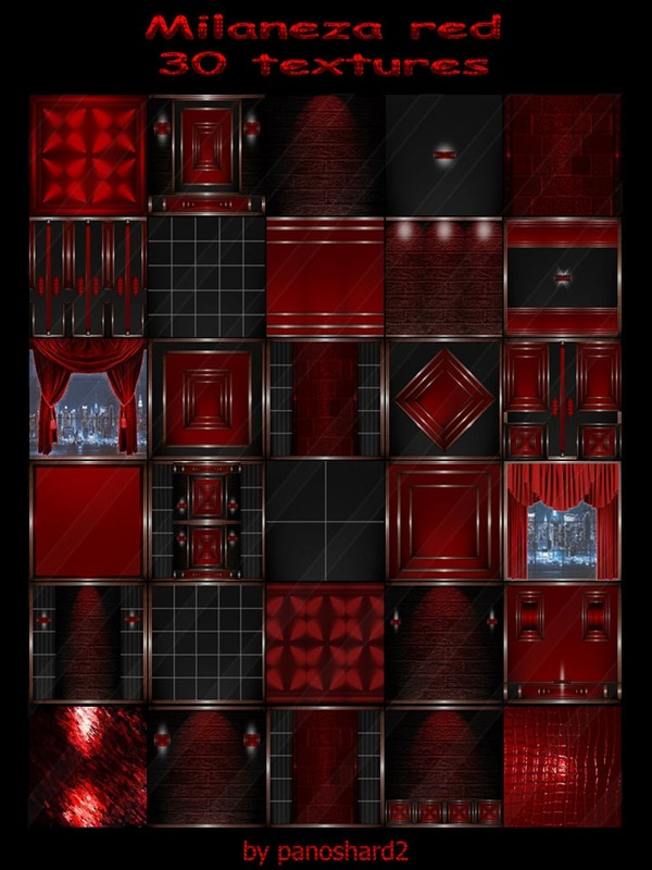 Milaneza red 30 textures for imvu rooms