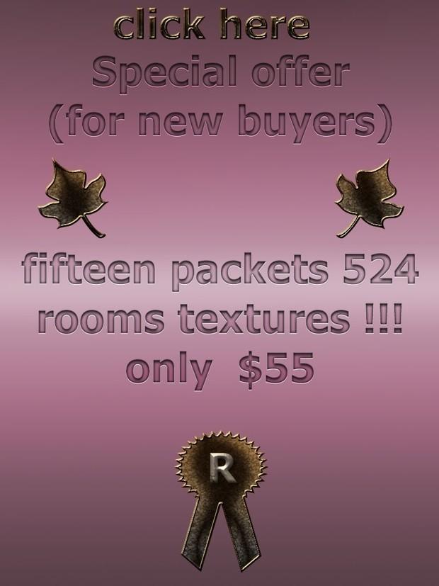 big  discount  special offer  fifteen packets 524 rooms textures imvu