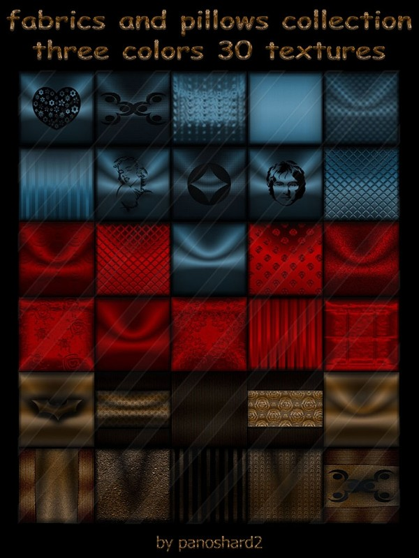 Fabrics and pillows collection three colors 30 textures for imvu  (will be sold to ten creators)