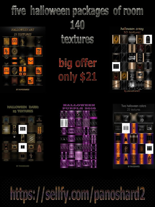 five  halloween packages  of room  140  textures big offer only $21