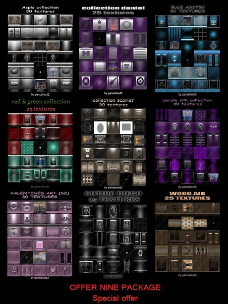 nine new package textures for imvu  rooms on offer today