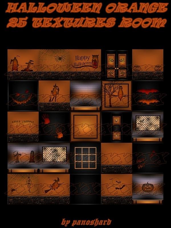 HALLOWEEN ORANGE 25 TEXTURES IMVU ROOM