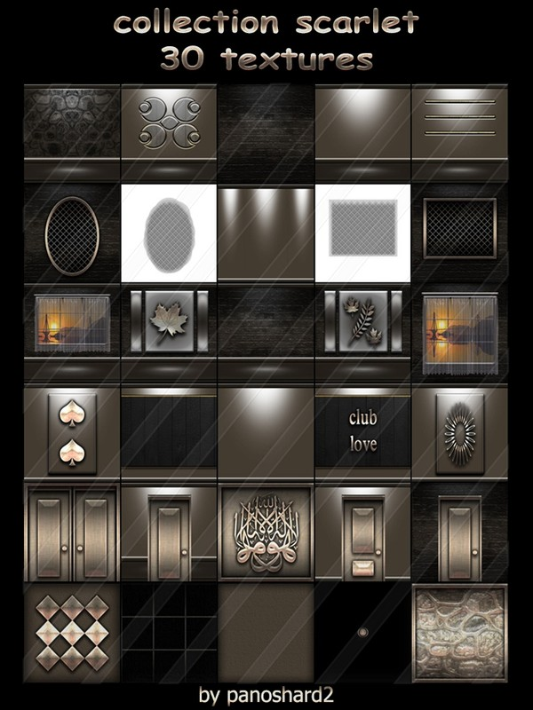 Collection scarlet 30 textures  for construction of rooms imvu  ( will be sold to ten creator )