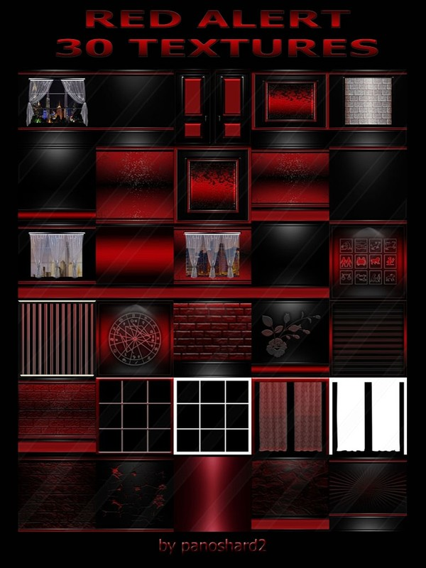 RED ALERT 30 TEXTURES FOR IMVU ROOMS