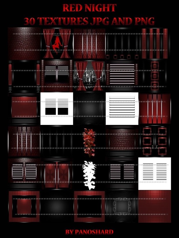 Red night 30 textures room