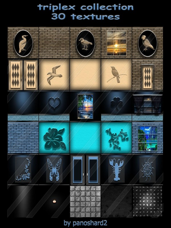 triplex collection 30 textures  for imvu rooms