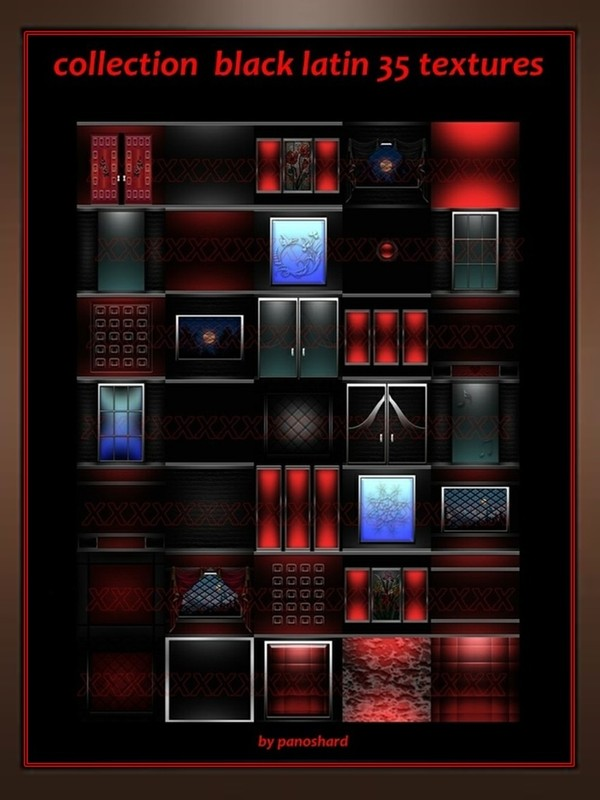 Collection black latin 35 textures  for  imvu rooms