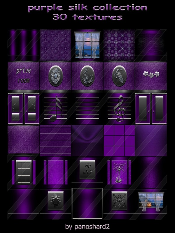 Purple silk collection 30 textures for construction of rooms imvu ( will be sold to ten creator )
