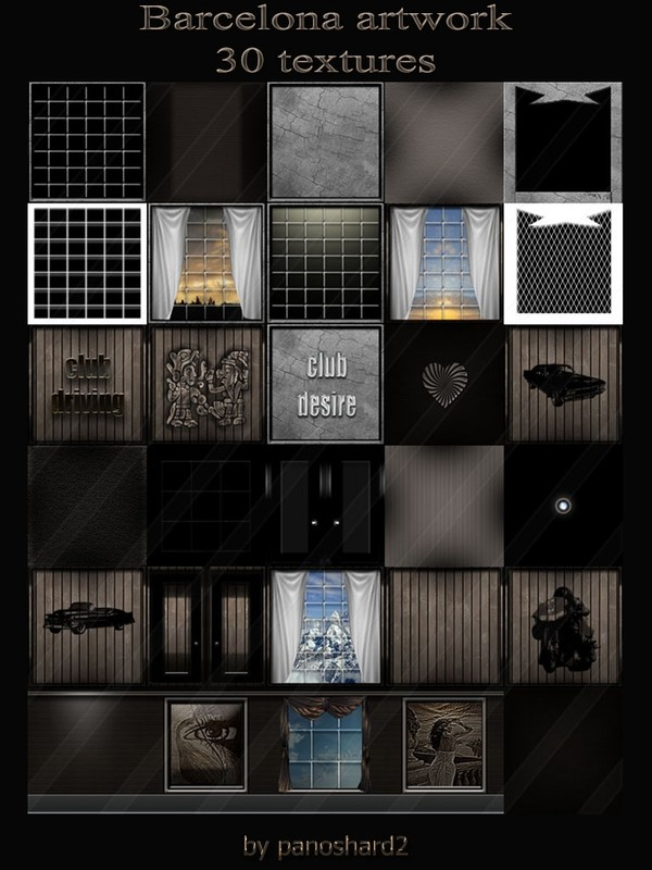 Barcelona artwork 30 textures for imvu room