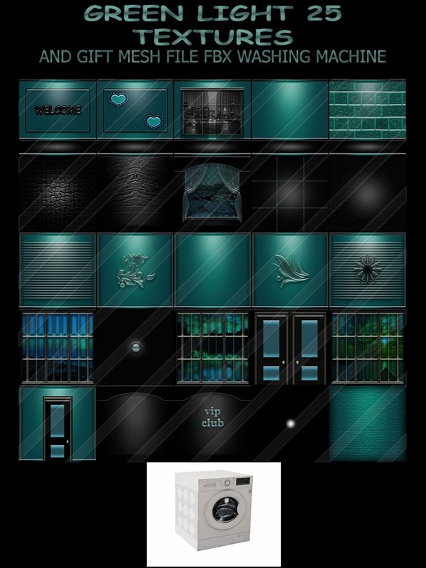 GREEN LIGHT 25 TEXTURES AND MESH FILE FBX GIFT WASHING MACHINE