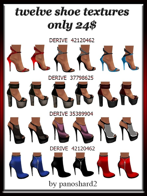 Twelve shoe textures  imvu only 18$